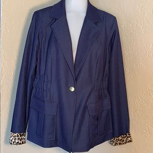 Iman lined jacket quality piece denim animal print